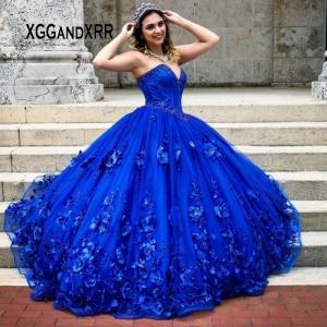 Vestidos de XV anos Royal Blue Quinceanera Dress with 3D Flowers Applique Corset Top Beaded Plus Size
