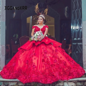 Beautiful Red Deep-V Illusion Neck Mexican Quinceanera Dress with Lace Applique 3D Flowers