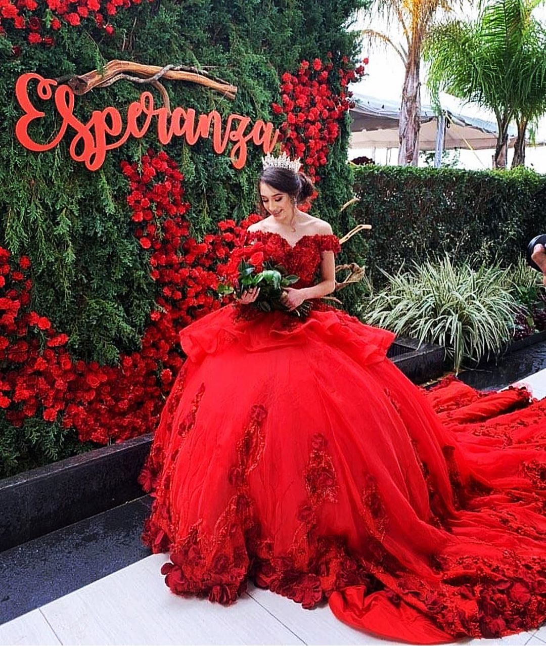 Red Off Shoulder Chaple Train 3D Flowers Quinceanera Dress Plus Size