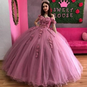 2021 Rose Pink Tulle Quinceanera Dress with 3D Applique Off Shoulder