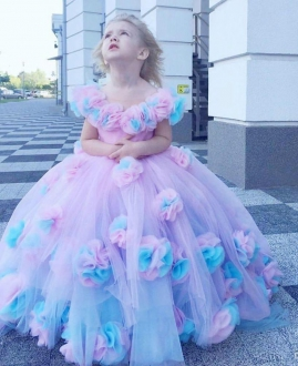 Pink Off Shoulder Neckline 3D Flowers Pageant Dress Puffy Tulle Skirt
