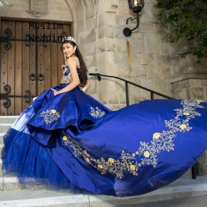 Charro Style Royal Blue Qinceanera Dress with Gold Embroidery and Train
