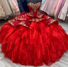 Elegant Red Ruffled Puffy Bottom Quinceanera Dress with Gold Embroidery