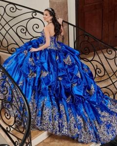 Pick-up Taffeta Royal Blue Halter Neck Quinceanera Dress with Gold Lace Applique vestido de 15 anos