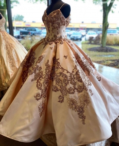 Custom Made Designer Rose Gold Sequin Quinceanera Dress with Straps