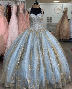 Exclusive Sky Blue Bling Gold Two Tone Ballgown Beading Quinceanera Dress