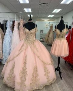 Blush Straps vestido de quinceanera with Gold Appliques Cap Sleeves