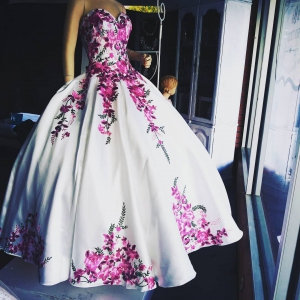 Western Style Mexican White Quinceanera Dress with Fuchsia Floral Embroidery