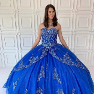 Sparkly Designer Sweetheart Neckline Royal Quinceanera Dress with Flowers and Silver Embroidery