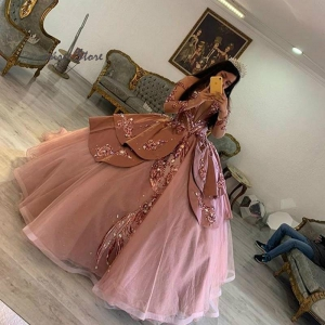 Dusty Pink Princess Long Sleeve Quinceanera Dress With Rose Gold Sequin Vestidos De 15 Anos