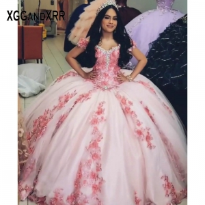 Luxury Pink Flower Quinceanera Dress V Neck Off Shoulder Beading Pearls Applique Birthday Party