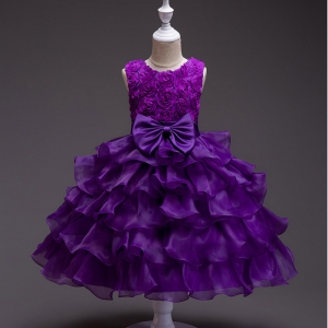 Cheap Scoop Nekline Organza Ruffles Short Flower Girls Dress Wholesale Price