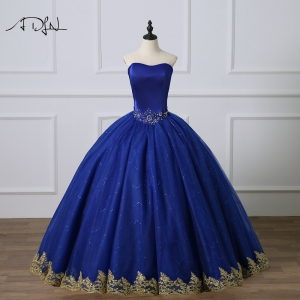 Cheap Simple Royal Blue Quinceanera Dress with Gold Appliques Masquerade Debutante Gown