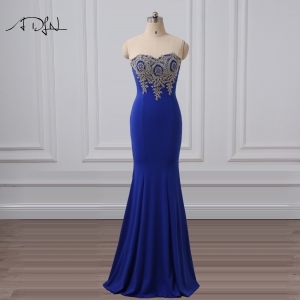 Cheap Royal Blue Sheer Neckline Mermaid Long Prom Dress Under 100