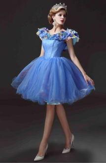 Beautiful Cinderalla Puffy Short Prom Dress with Butterflies on Neckline
