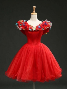 Unique Cinderella Style Red Off the Shoulder Short Homecoming Dress