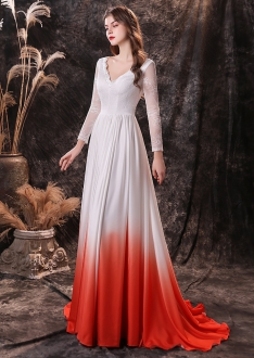 White to Red Ombre Long Sleeve Prom Dress V Back with Train