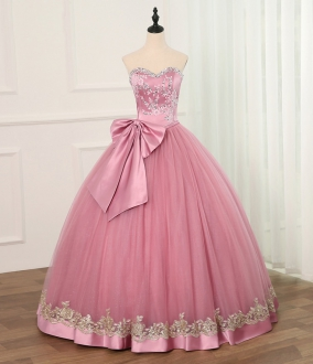 Cheap Simple Rose Pink Quinceanera Dress with Big Bow