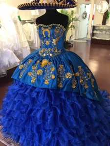 Customized Royal Blue Mexican Quinceanera Charro Dress with Gold Embroidery and Buttons