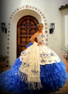 Custom Made Royal Blue Mexican Quinceanera Dress Vestido Mexicano