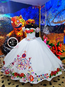 Two Piece Mexican Style White Quinceanera Dress Short Sleeve Traditional
