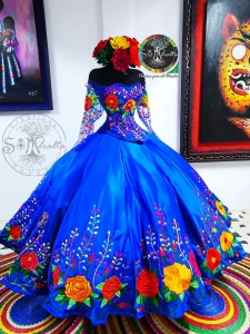Royal Blue Mexican Theme Long Sleeve Embroidered Quinceanera Dress