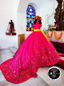 Hot Pink Mexico Western Style Quinceanera Dress with Train VM-2021