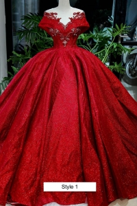 Elegant Red Sparkly Off Shoulder Quinceanera Dress See Through Neckline