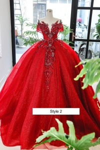 Princess Red Deep-V Neckline Quinceanera Gown Sparkly Crystals