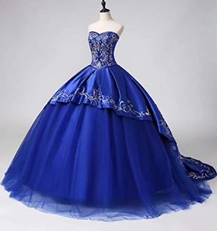 Traditional Gold Embroideried Quinceanera Dress Satin Corset with a Train