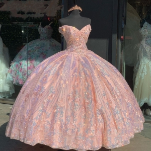 Sparkly Beaded Sequins Quinceañera Dress Cap Sleeves Vestido De 15 Anos Quinceanera 2021