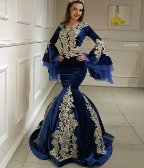 Unique Royal Blue Velvet Mermaid Prom Dress Long Balloon Sleeves Evening Gown