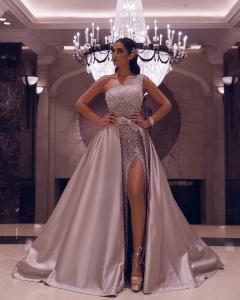 Glitter Detachable Skirt Sliver One Shoulder Prom Dress Sexy High Slit