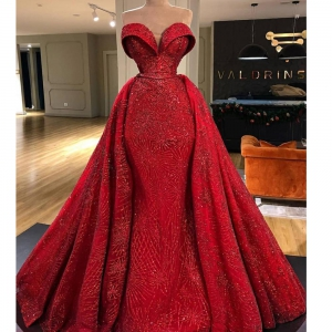 Sparkly Red Off The Shoulder Detachable Train Mermaid Prom Dress