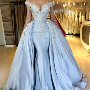 Detachable Crystal Beaded Pearls DetachableTrain Satin Prom Dress