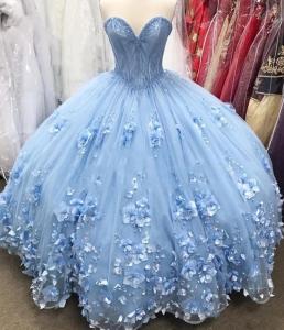 Plus Size Blue Off Shoulder 3D Flowers Quinceanera Dress Cinderella Debutante Vestidos 15 Anos