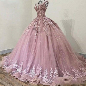Glitter Sequins Cinderella Quinceanera Dress Dusty Pink Crystal Beaded Draped Sweet 15 Party