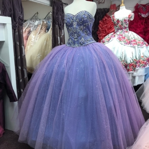 Lavender Sweetheart Sparkly Tulle Crystals Bodice Quinceanera Dress