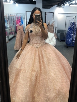 Rose Gold Sparkly Fully Sequins Halter Illusion Quinceanera Dress