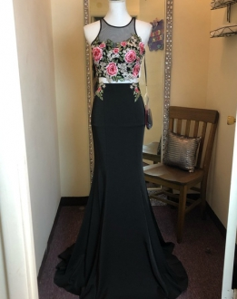 Stylish Black Two Piece Mermaid Floral Prom Dress Illusion Neckline