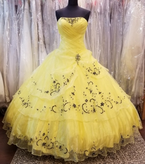 Chic Bright Yellow Ruffled Layers Quinceanera Dress with Black Embroidery