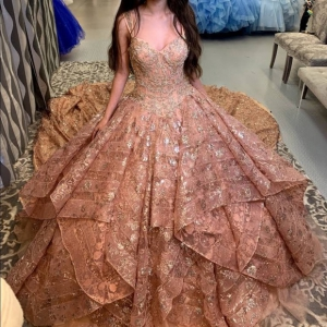Absolutely Gorgeous Rose Gold All Lace Quinceanera Princess Dress