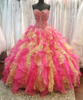 Fushia Pink with Gold Ruffles and Silver Crystal Beading Quinceanera Dress
