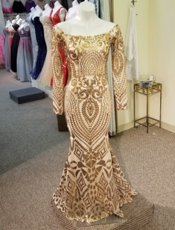 Elegant All Sequin Over Gold Long Sleeve Prom Dress Scoop Evening Gown