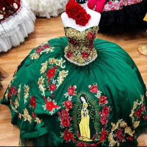 2021 Green Color Mexican Style Virgen de Guadalupe Floral Quinceanera Dress