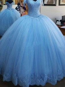 Cheap Sky Blue Off-the-Shoulder Lace Tulle Quinceanera Dress Free Shipping