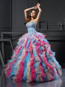Cheap Blue and Pink Sweetheart Beading Long Organza Quinceanera Dress