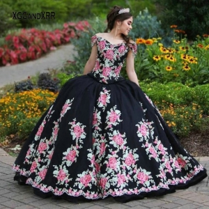 2021 Black Off the Shoulder Floral Charro Quinceañera Dress On Sale