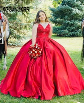 Cheap Red Satin Cowgirl V-neck Quinceanera Dress with Straps