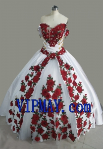 2021 Charro Style White Quinceanera Dress with Red Floral Embroidery